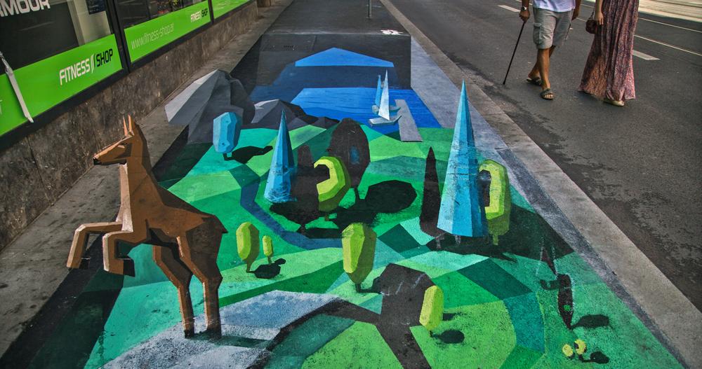 Stilisierte 3D-Landschaft - Asphalt-Oase in Graz