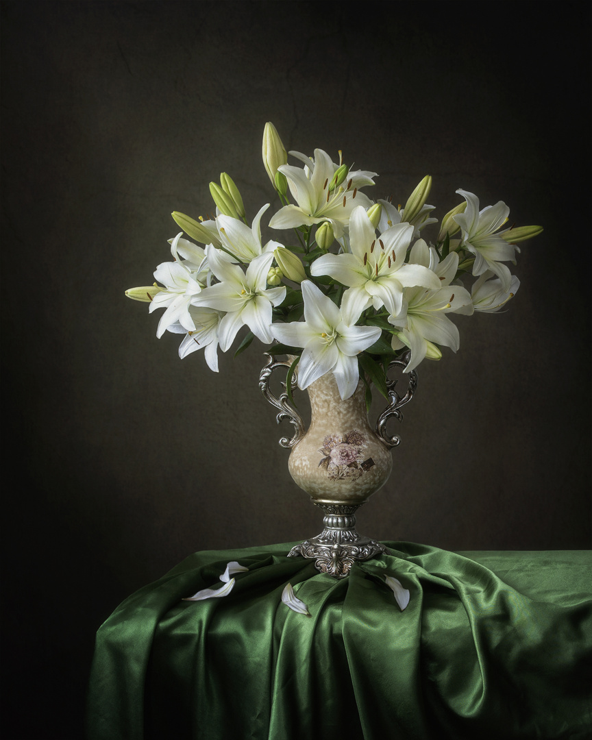 Still life with white lilly bouquet