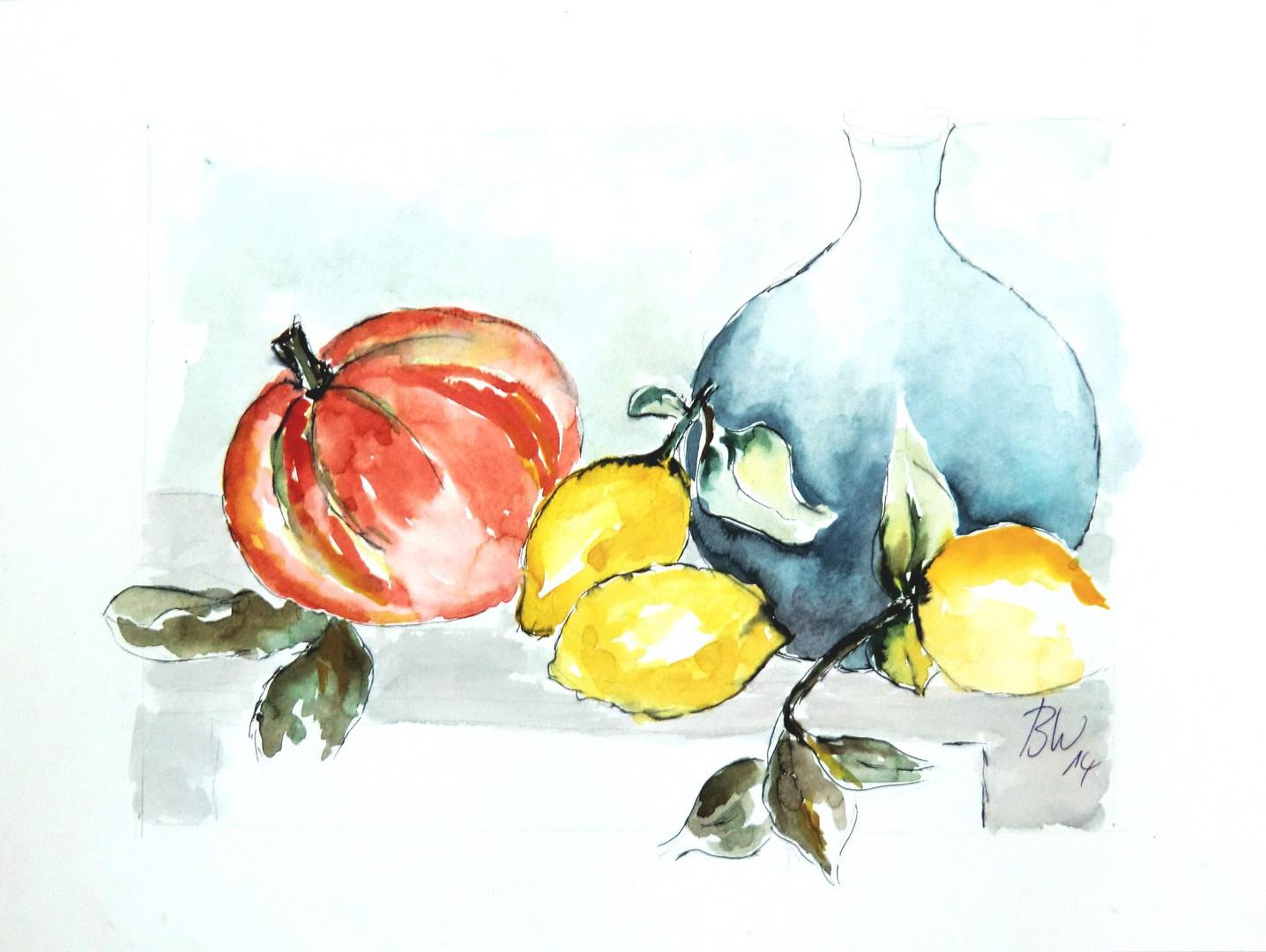 Stilleben Kürbis -Zitronen