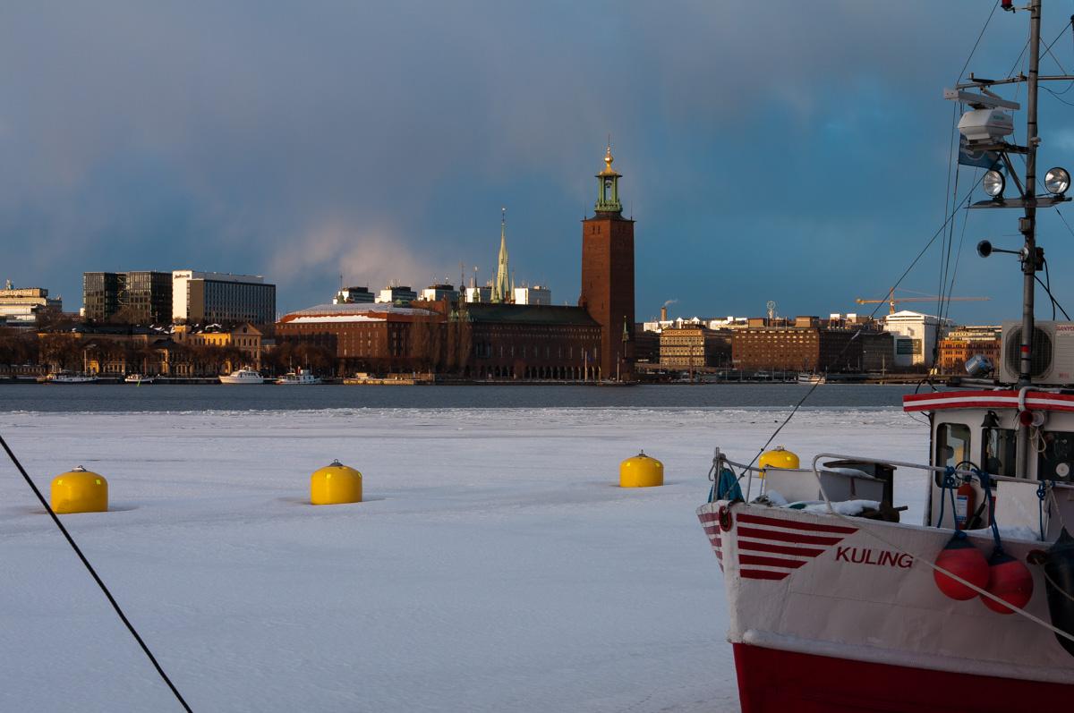 Stockholm im Winter - Mälarsee und Stadshuset