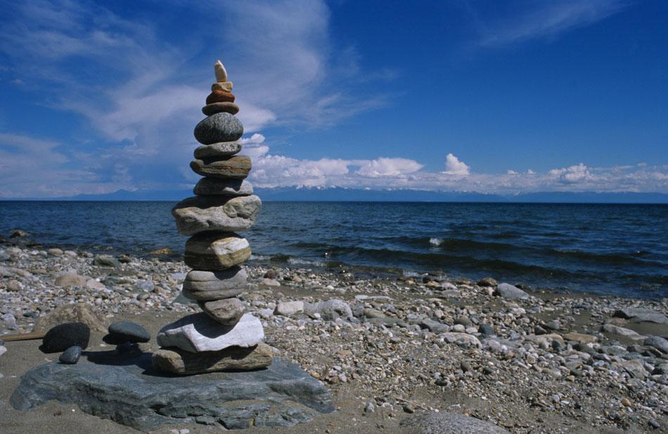 Stonesculpture in Severobaikalsk, most northern part of Lake Baikal