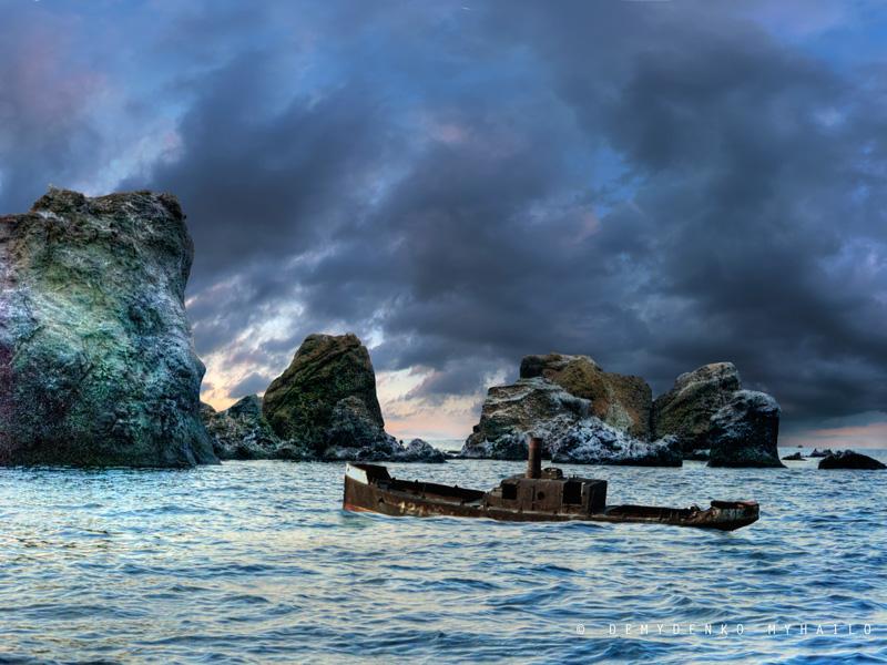 Storm s'approche. A proximité des rives de la Crimée