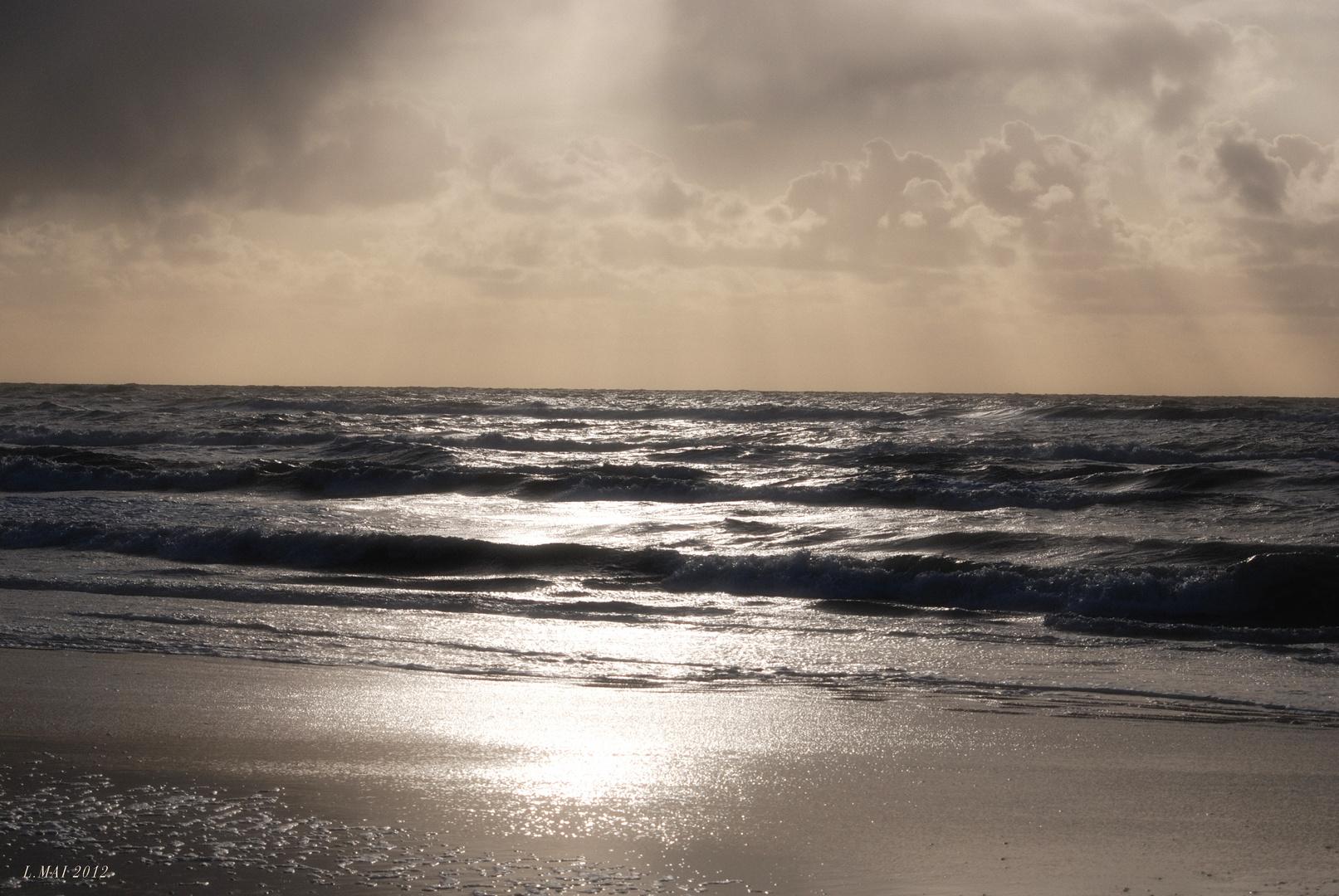 Strand am frühen Abend