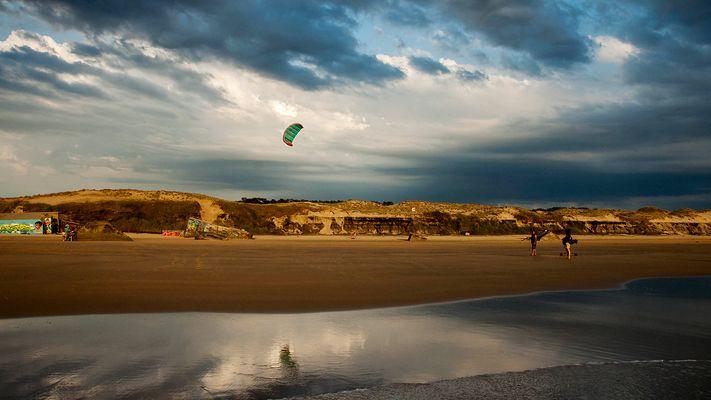 Strand von Le Gurp, Médoc, Blick vom Meer