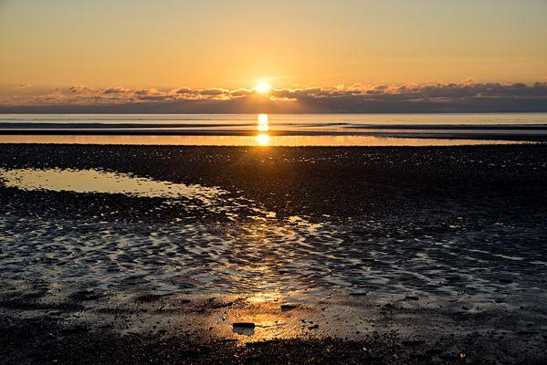 Strandimpressionen beim Sonnenuntergang auf Römö