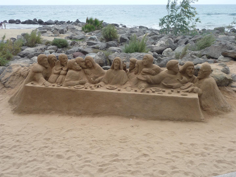 Strandkunst am Strand von Mapalomas