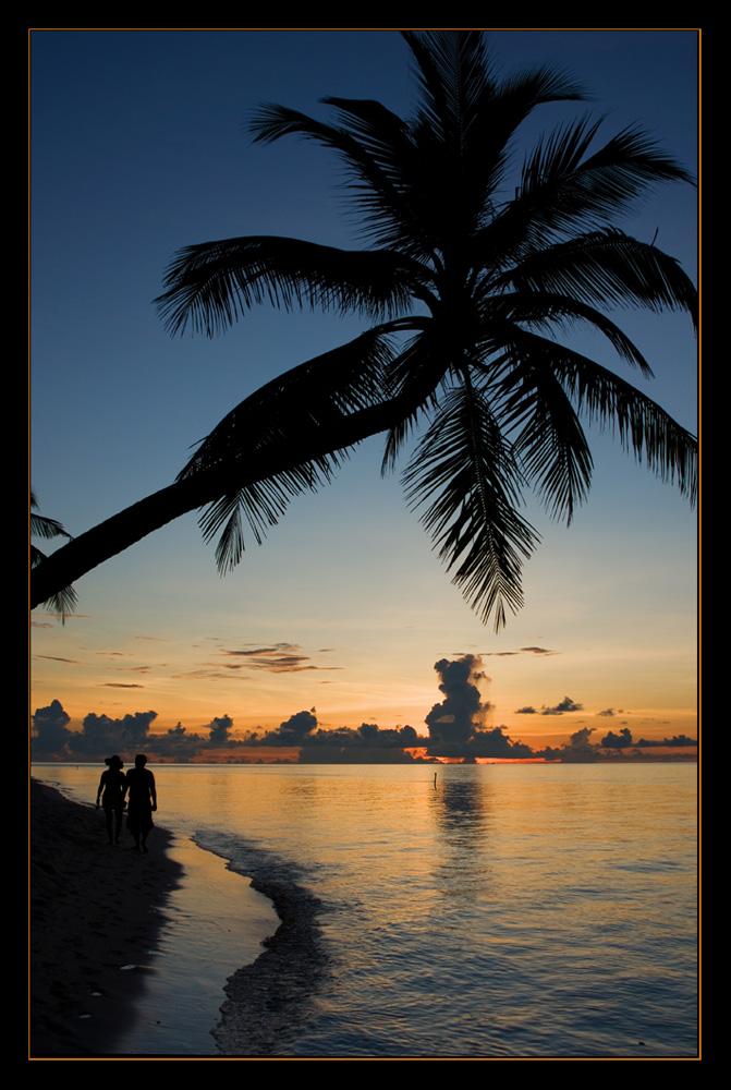 Strandspaziergang in der blauen Stunde
