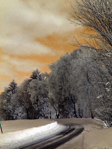 Straße im Winter bei Föllmar, Falschfarben