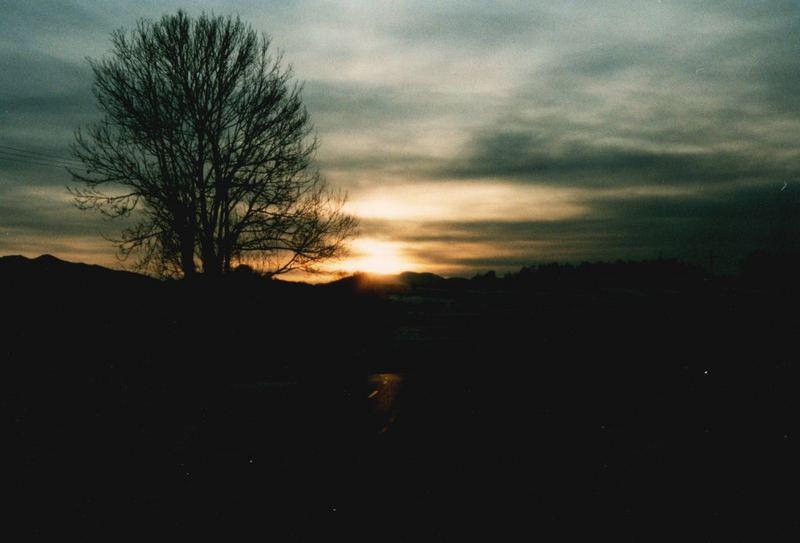 Strasse in den Sonnenuntergang