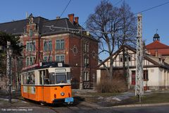 Straßenbahn Naumburg - Tw 38 am Depot