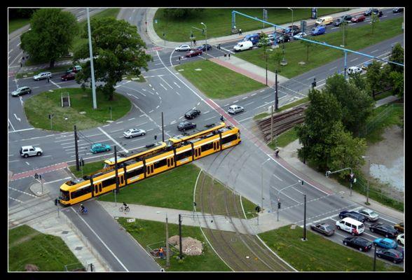 Straßenbahn vom Rathausturm