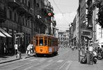 Strassenbahn/Tram in Milano/Mailand - colorkey