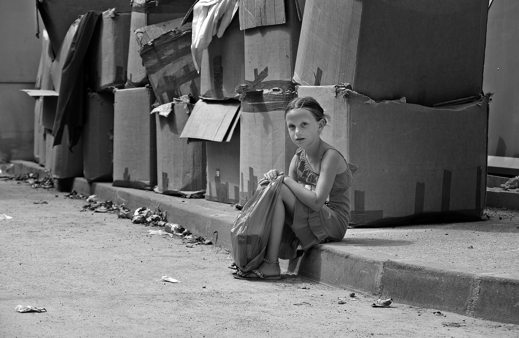 Straßenkind in Spanien