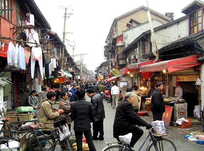 Strassenleben in alt Shanghai