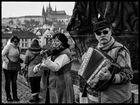 Straßenmusik auf der Karlsbrücke in Prag