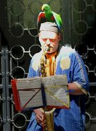 Straßenmusiker mit Lebendem Papagei