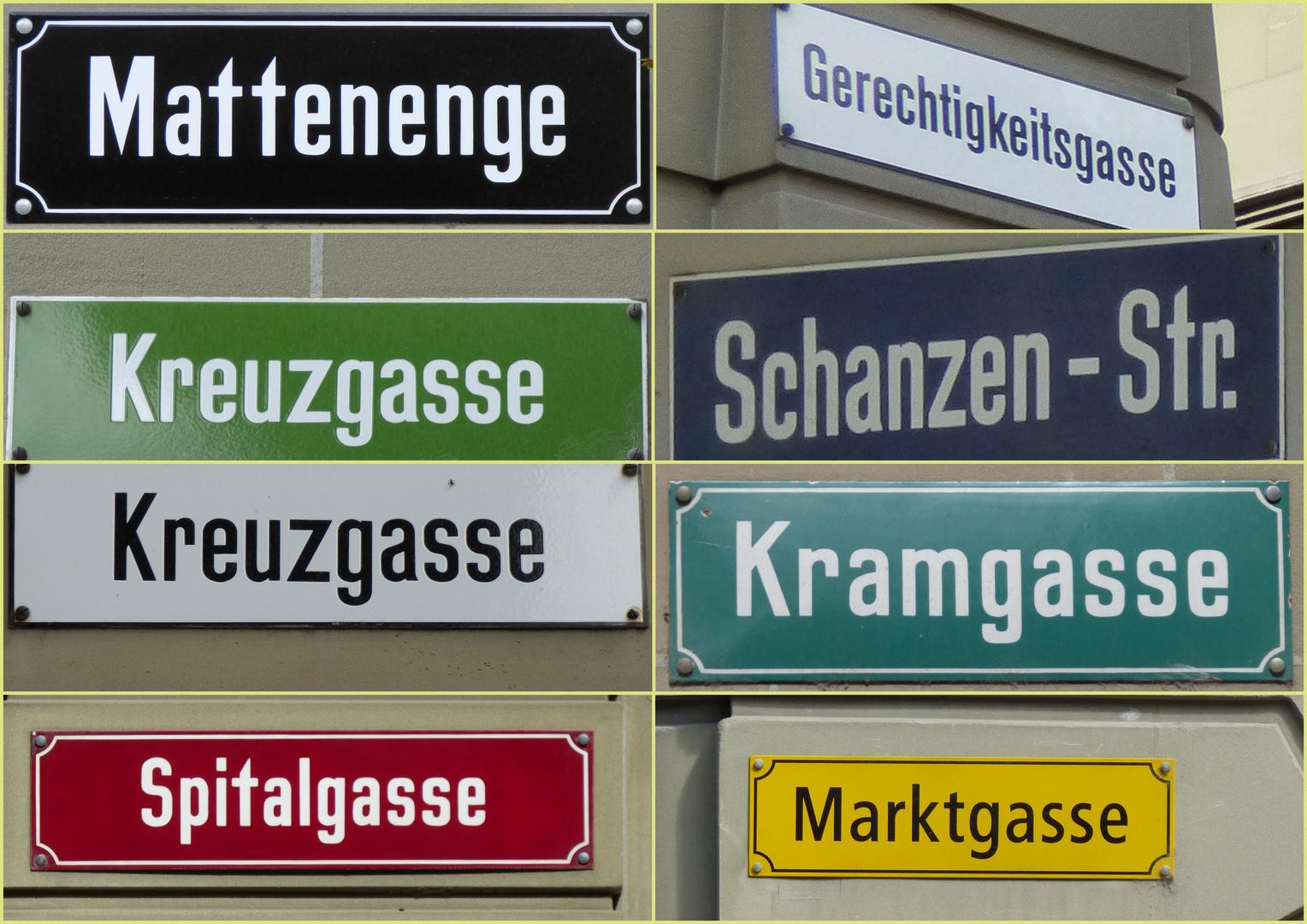 Strassenschilder von Bern