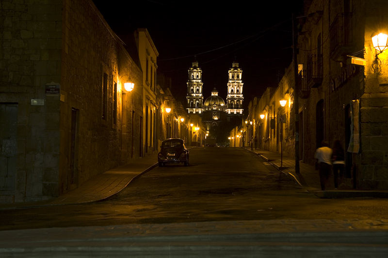 Street in Morelia by night