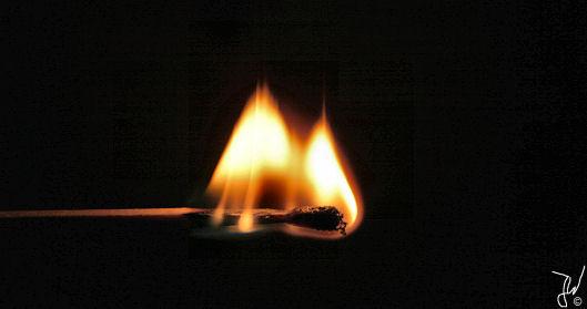 Streichholz unter Feuer