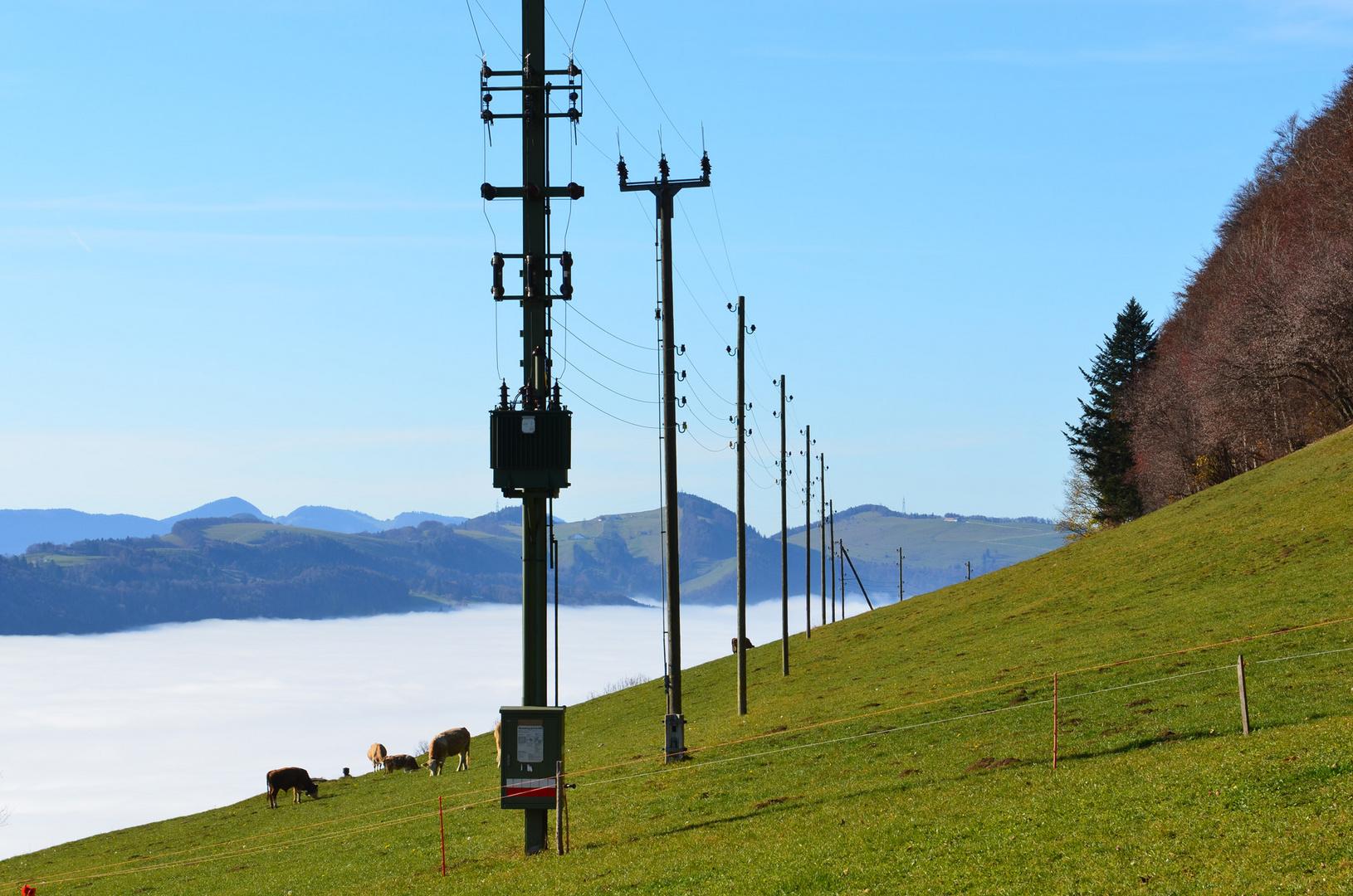Stromversorgung auf der Alp (Passwang)