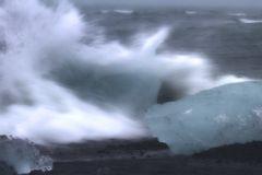 Sturm an der Jökulsarlon Lagune in Island