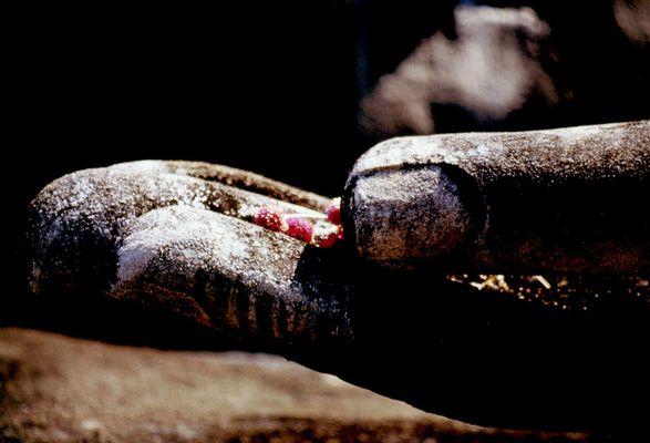 sukkothai, opfergaben in buddhas hand