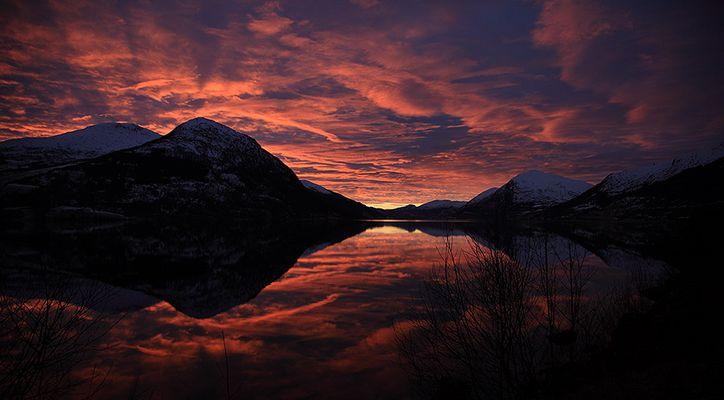Sundown in western Norway on the darkest day of the year