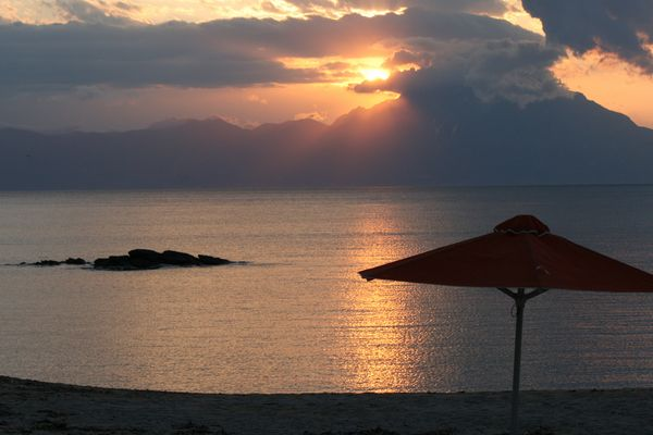 Sunrise from Sarti with Mount Athos