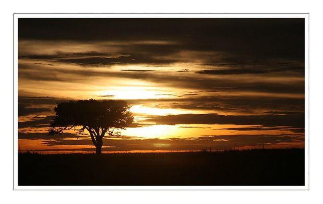 Sunrise over Makgadikgadi pans...