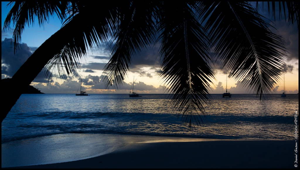 Sunset at Anse Lazio Beach on Praslin Island, Seychelles