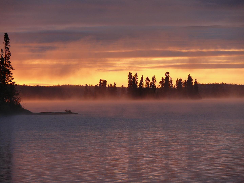 sunset at Blachford Lake