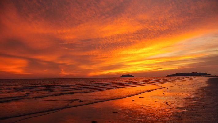 Sunset at first beach, Kota Kinabalu, Sabah district, Eastern Malaysia