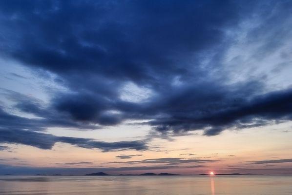 Sunset at Neist Point mit Blick auf Lewis (äußere Hebriden)