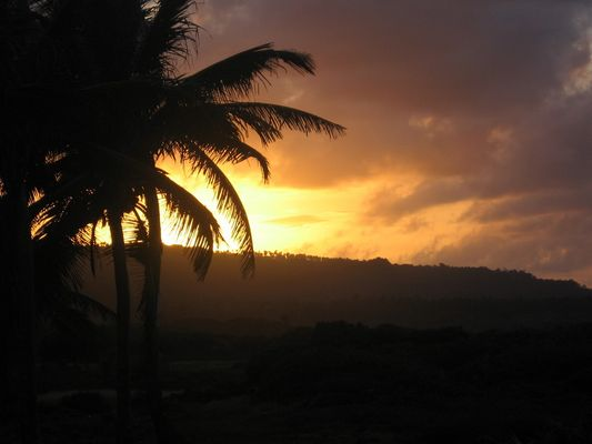 Sunset at northern cost of the Dominican Republic