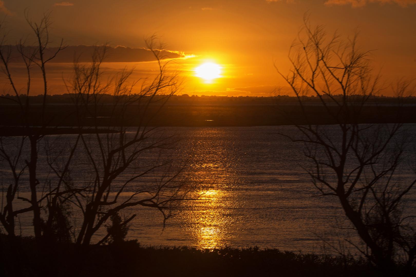 Sunset at Paraná Delta