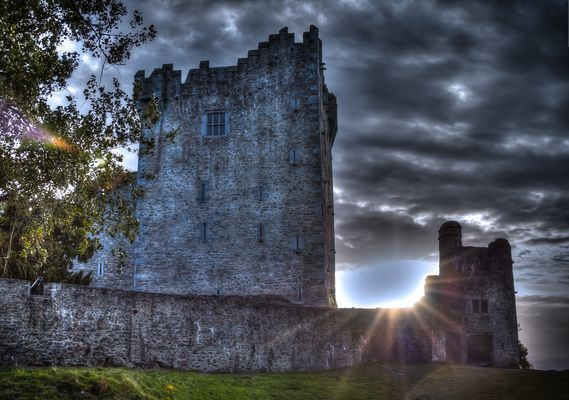 Sunset at Ross Castle , County Kerry , Ireland