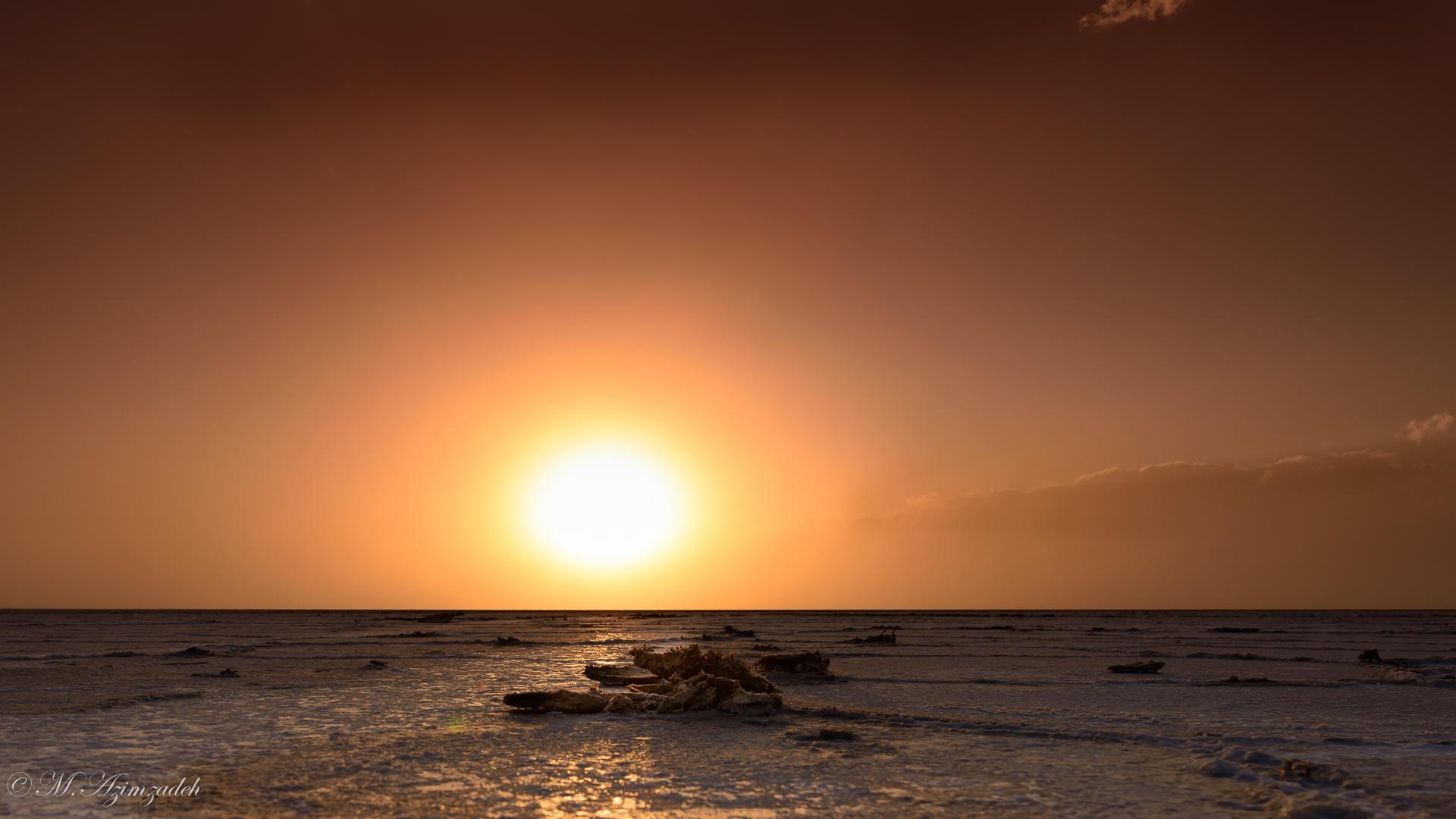 Sunset at Salt Lake in kashan Iran