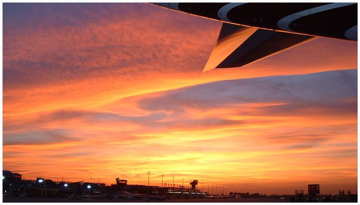- sunset at the airport -