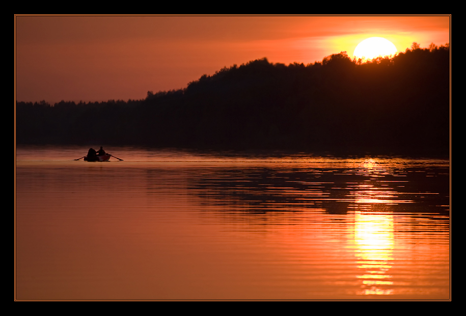 Sunset at Volga-river