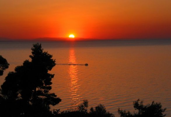 Sunset behind Mt. Olympus, as seen from Sithonia, Chalkidiki (North of Greece)