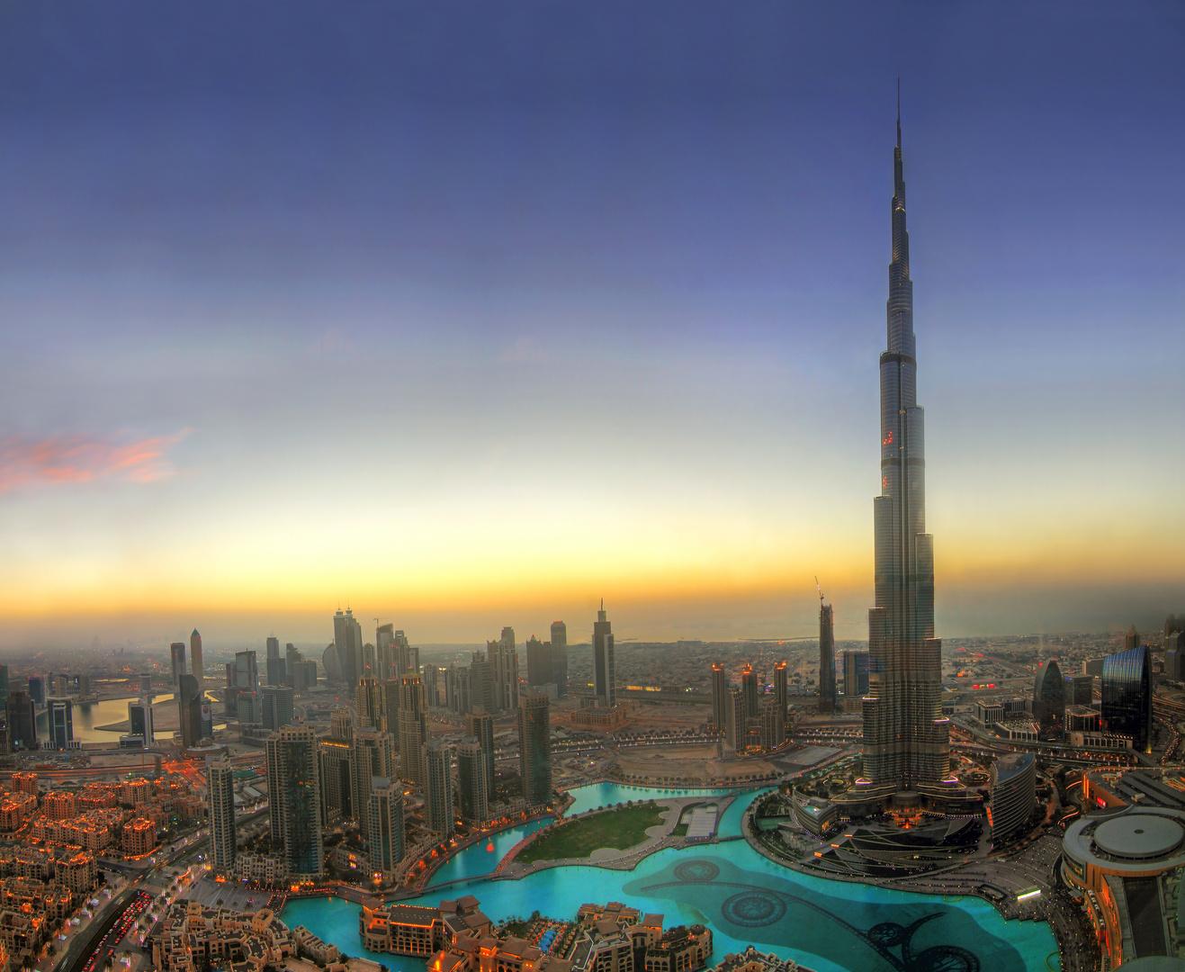 Sunset in Dubai with Burj Khalifa