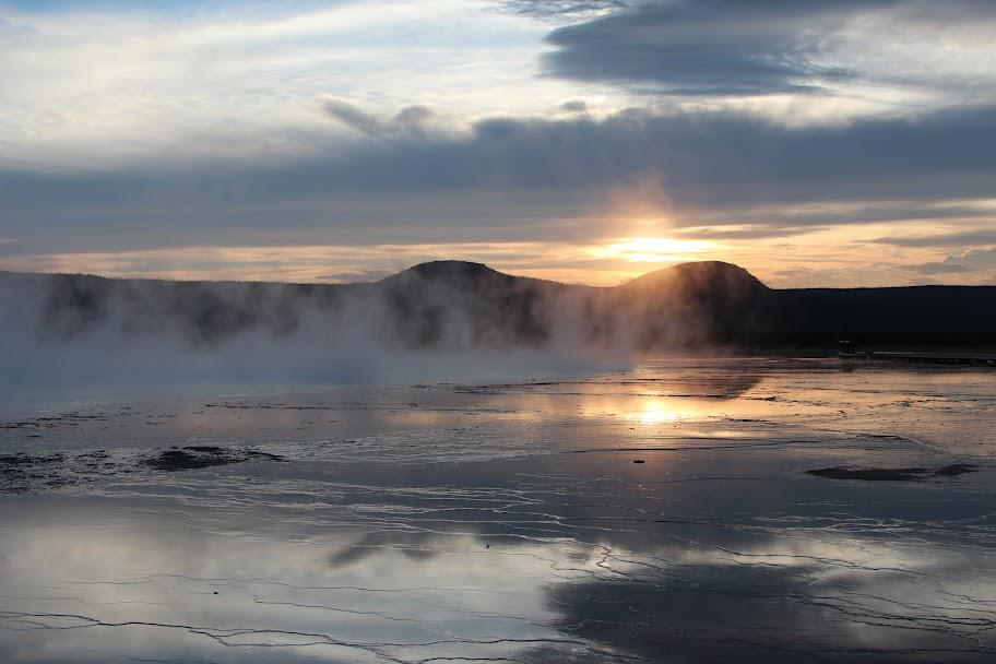 Sunset in Grand Prismatic Spring