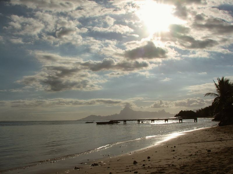 Sunset on the beach, Tahiti, 2007