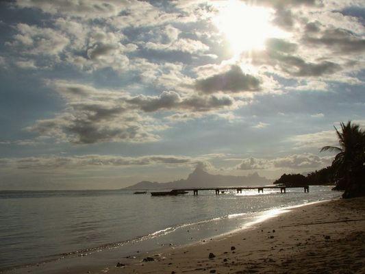 Sunset on the beach, Tahiti, 2007
