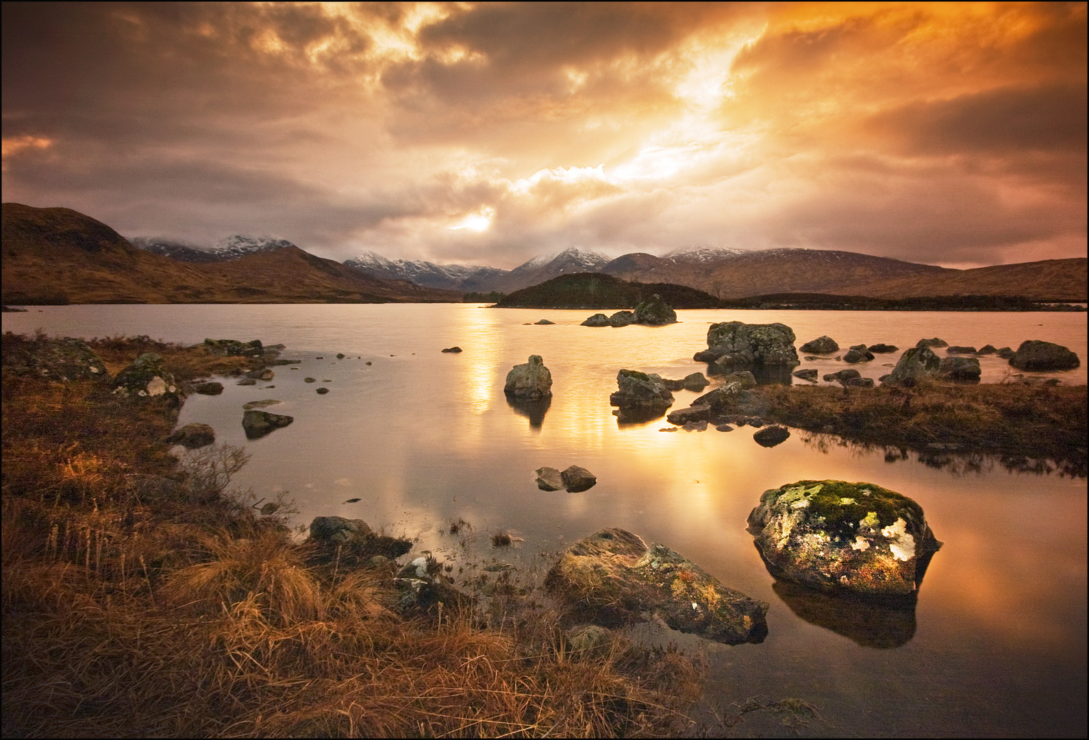 Sunset over Loch Nah-Achlaise