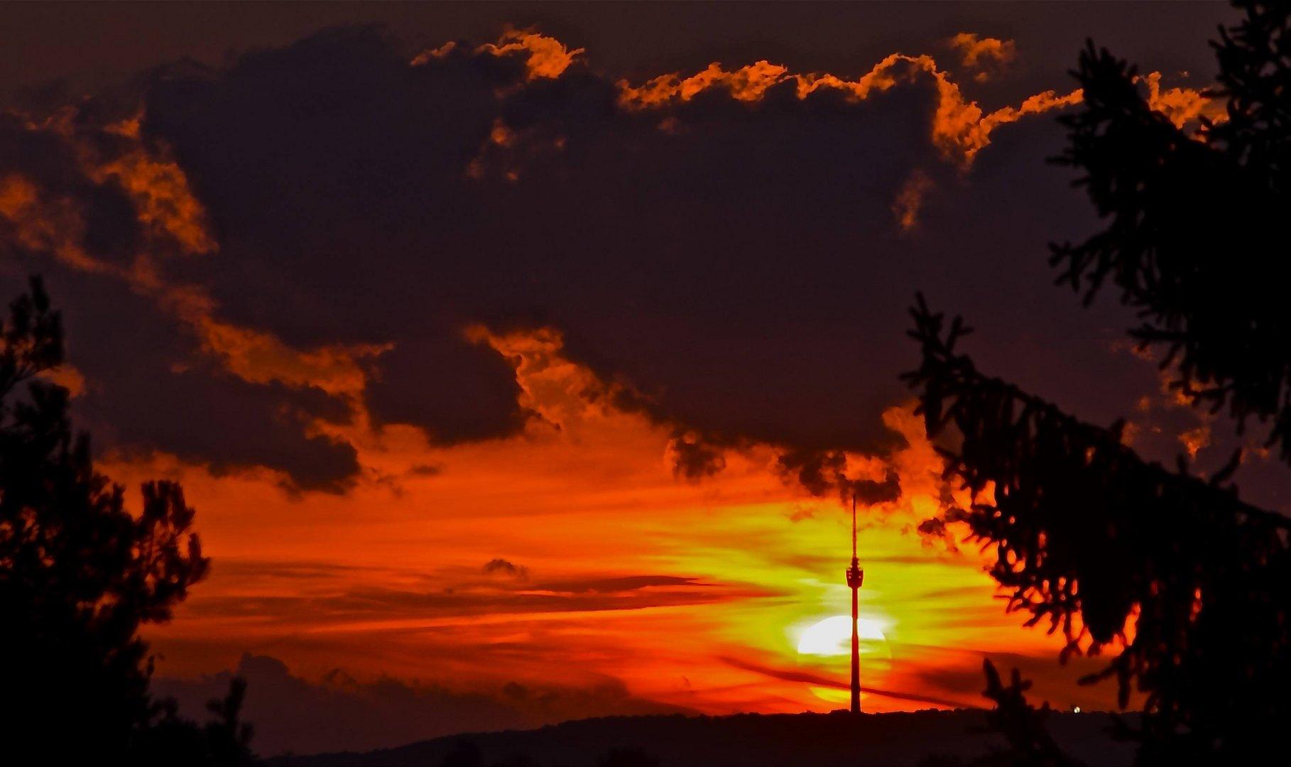 Sunset over Stuttgart - as seen from Esslingen (Germany)