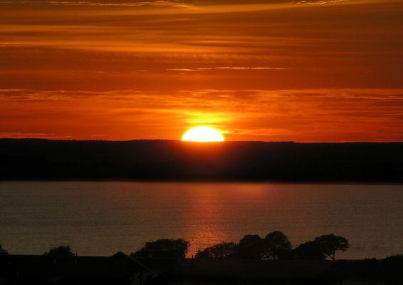 Sunset over Vättern in Gränna, Sweden