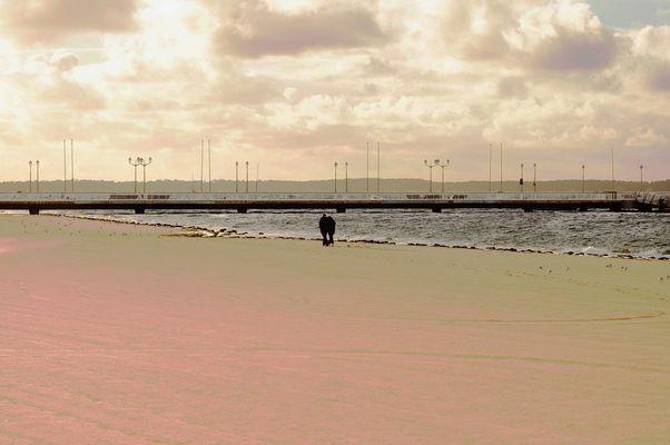Sur la plage en automne