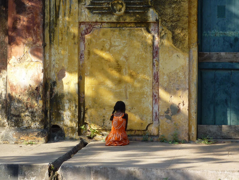 Sur le trottoir à Pondichéry