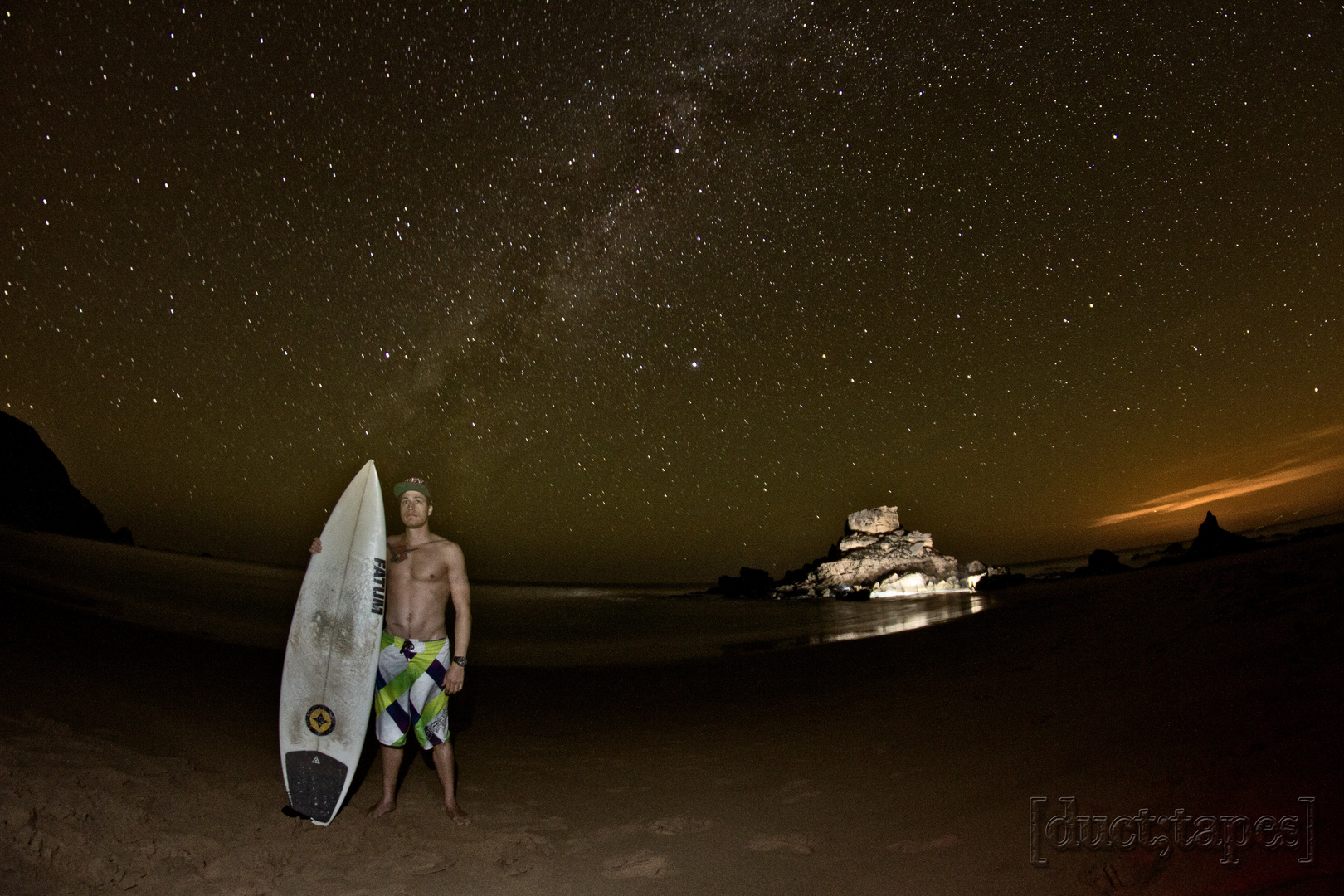 Surfer at night